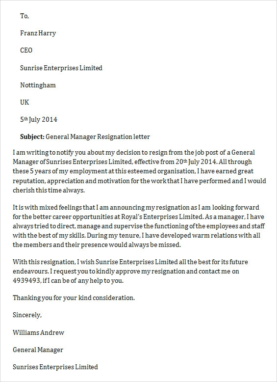 general manager job resignation letter2