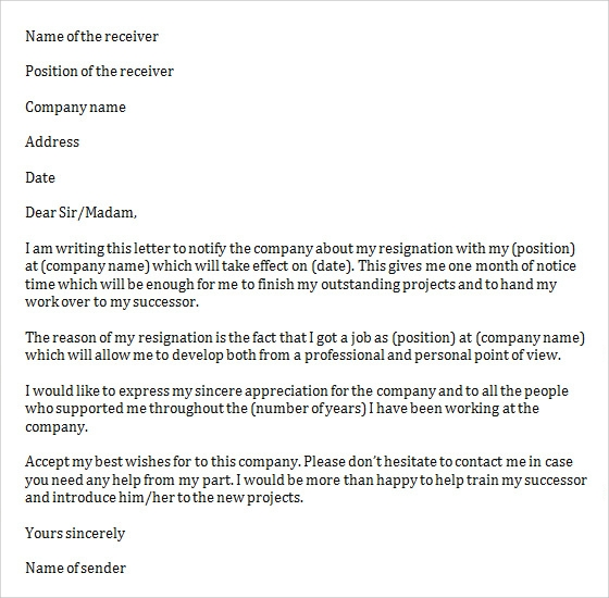 job resignation letter to company