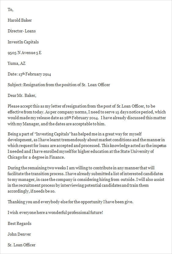 loan officer job resignation letter2