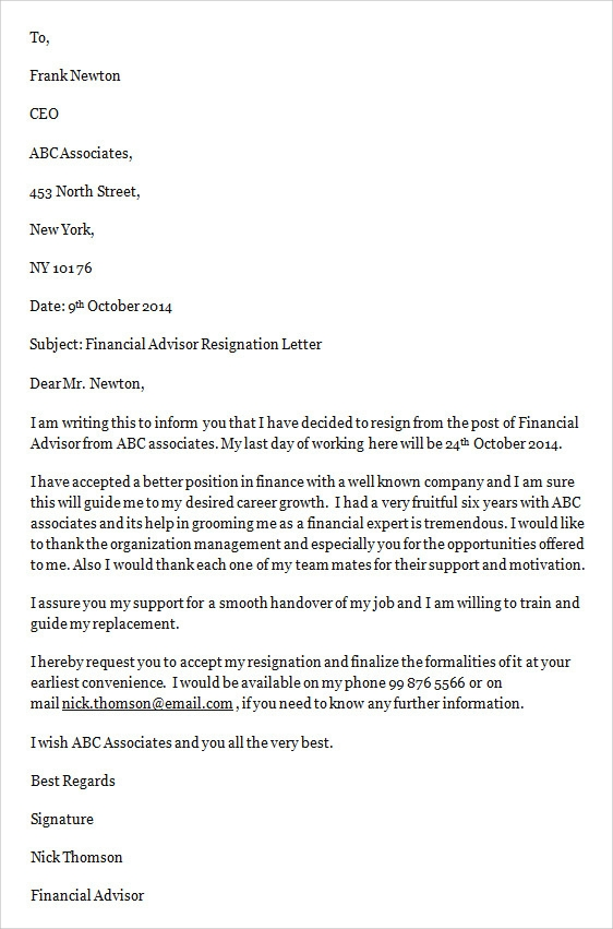 sample job resignation letter template