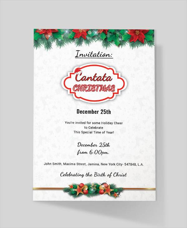cantata christmas invitation template
