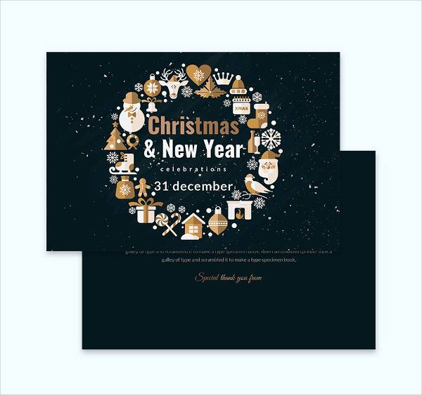 christmas celebration thank you card template