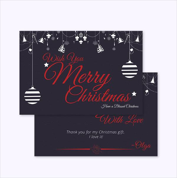 christmas gift thank you card template