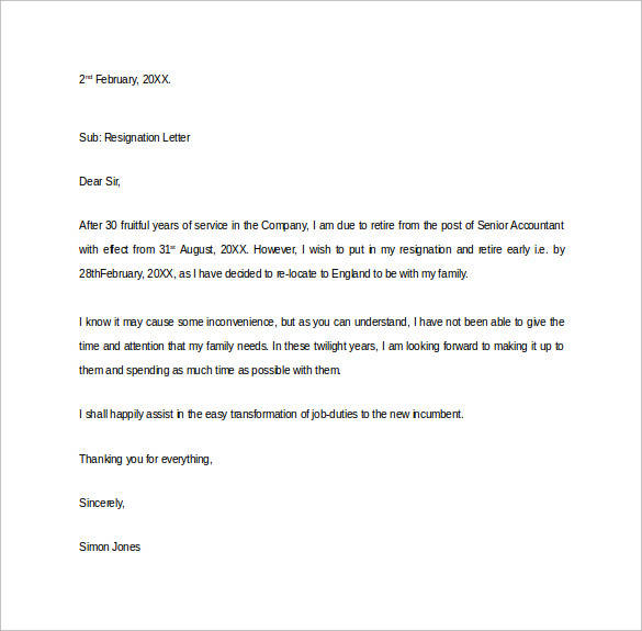 Early Retirement Resignation Letter