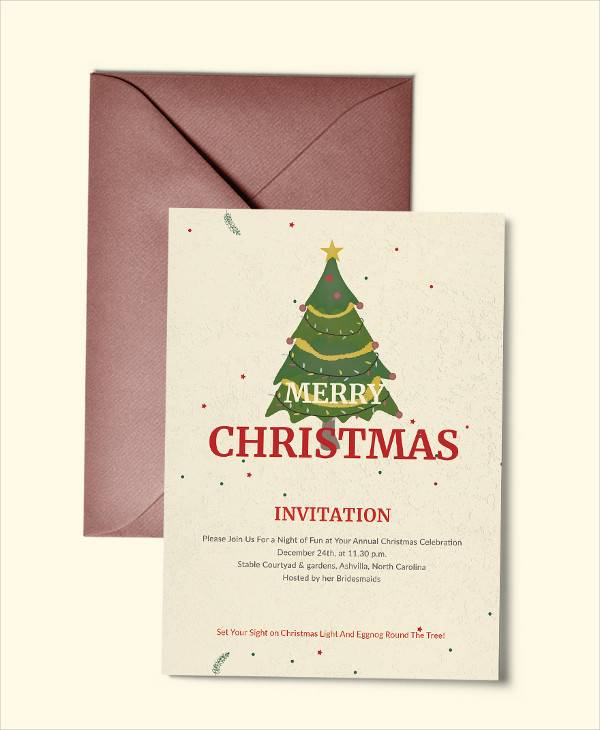 elegant merry christmas invitation template