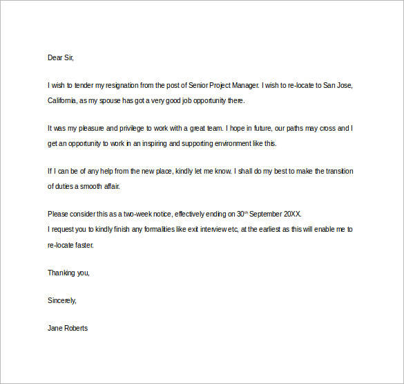 41 Formal Resignation Letters to Download for Free | Sample Templates