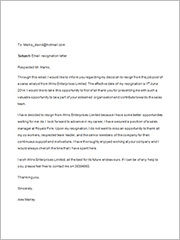formal resignation letter email