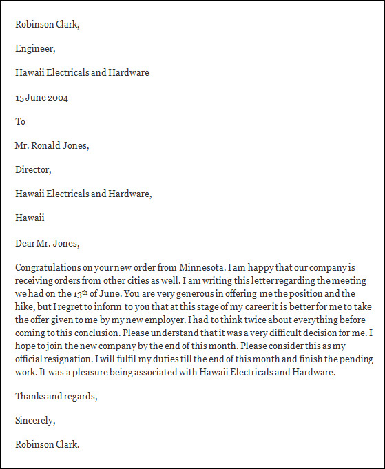 Formal Resignation Letter   Download Free Documents In Word Pdf