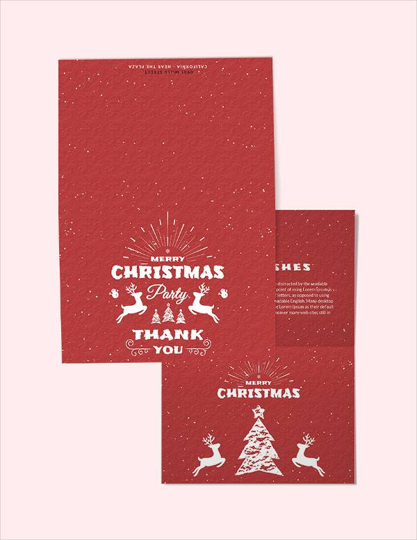 free retro christmas thank you card template