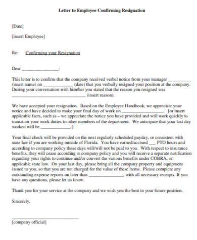 general employee resignation letter