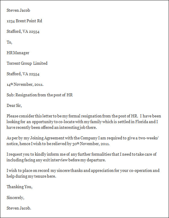 resignation letter template free resignation letter template
