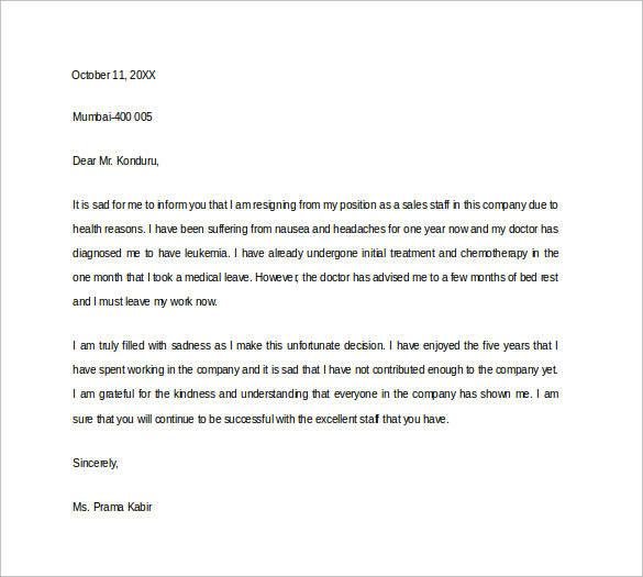 health resignation letter