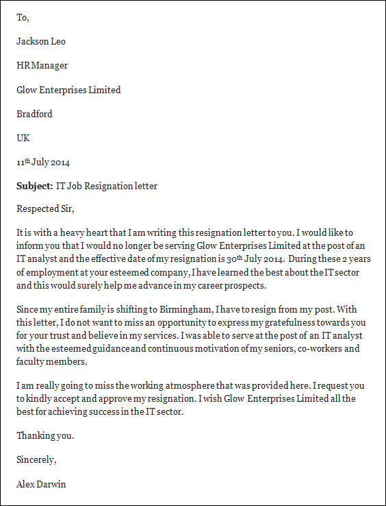 Professional Resignation Letter Format Job Resignation Letter