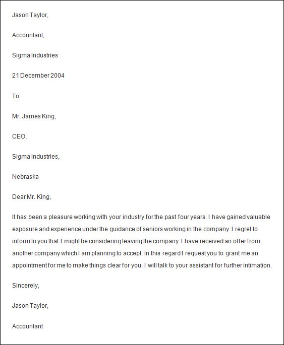 letters of resignation template good professional resignation – Resignation Letter Templates Word