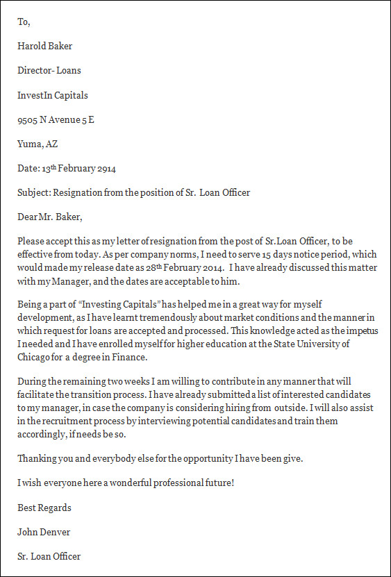 Employment Letter For Bank Loan