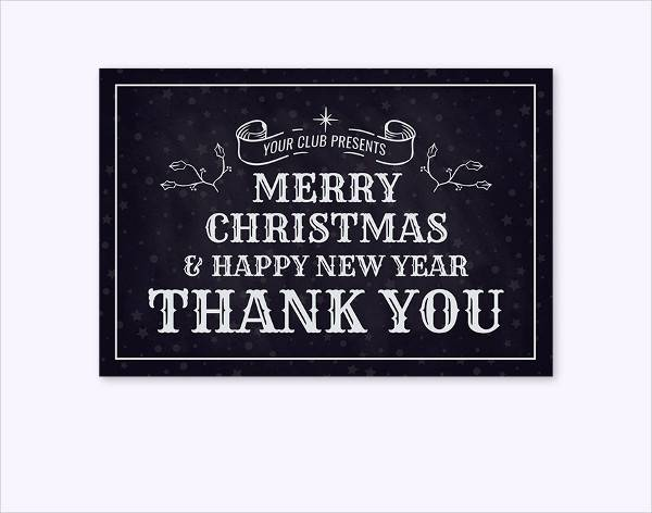 monochrome christmas thank you card template