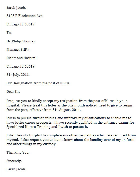 Nursing resignation letters sample templates for Cover letter for ain nursing