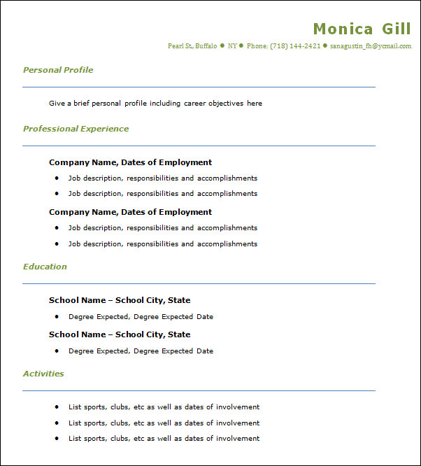 Sample Professional Resume Templates   Free Documents In Doc  Pdf