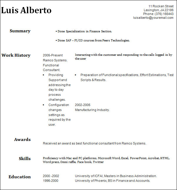 Sample Professional Resume Templates - 17+ Free Documents In Doc , Pdf