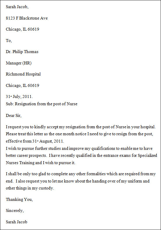Sample Nurse Resignation Letter 7PIINmfK
