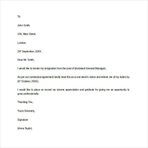 Resignation Letter With One Week Notice Period  One Week Notice