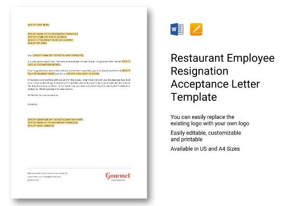 restaurant employee resignation letter