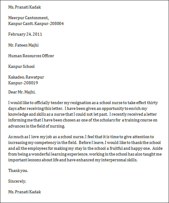 Sample Nurse Resignation Letter – Letters of Resignation Nursing