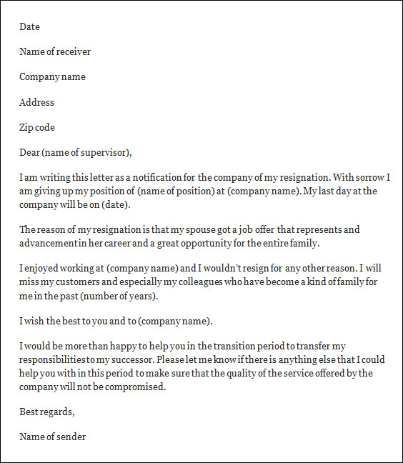 word format of resignation letter