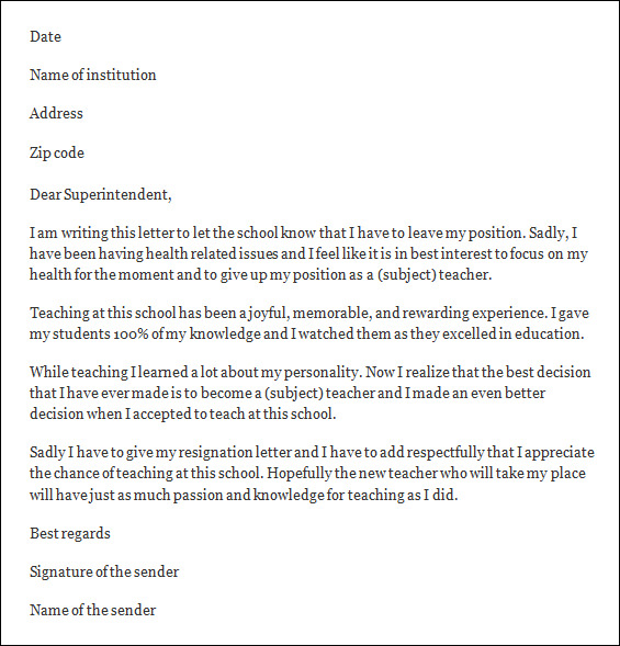 teacher job resignation letter format