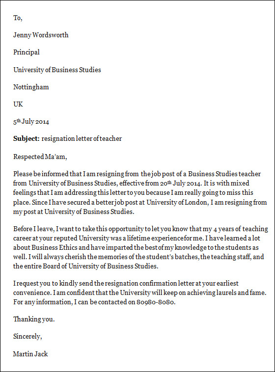 resignation from the post of teacher