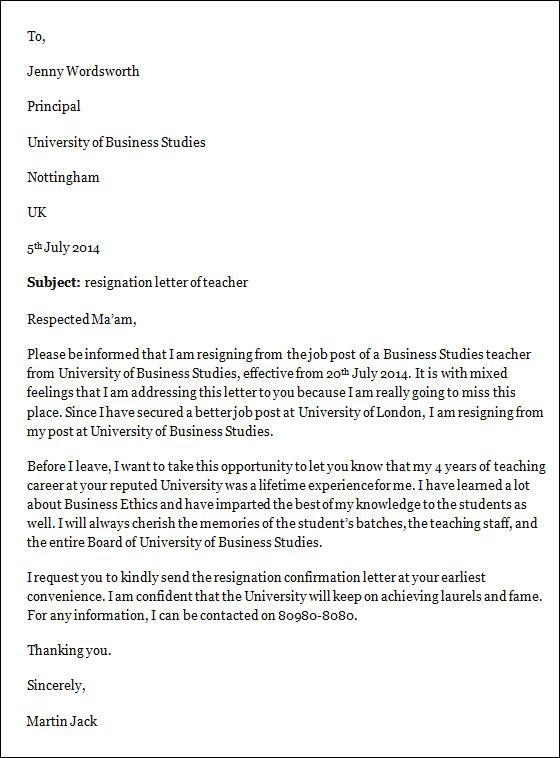 resignation letter sample teacher uk teacher teacher
