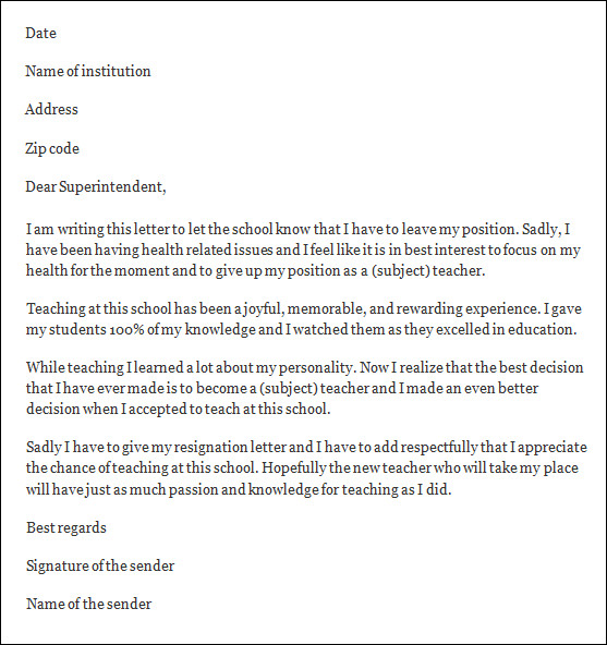 Resignation Letter   Teacher Resignation Letter Sample Sample UyILmtyA