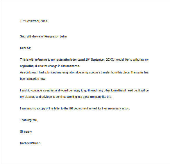 withdrawal of resignation letter