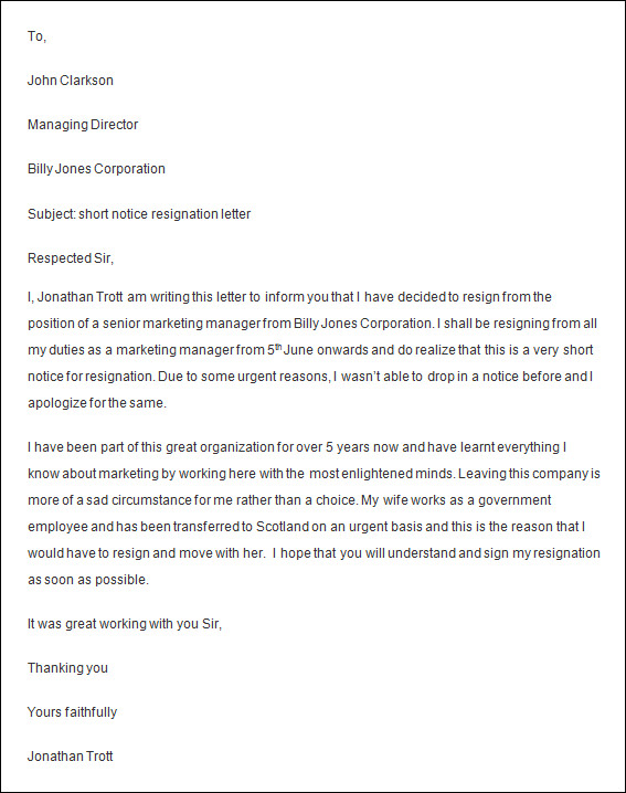 employee resignation letter advance notice