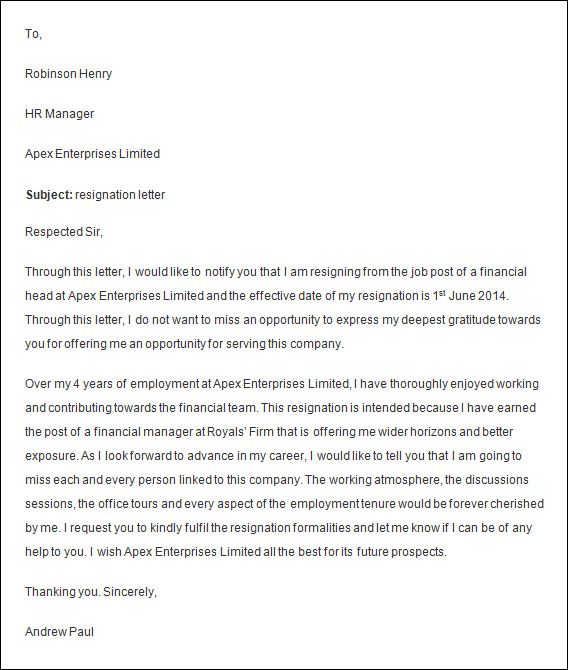 Resignation Letter Samples With Reason – Template for Resignation Letter Sample