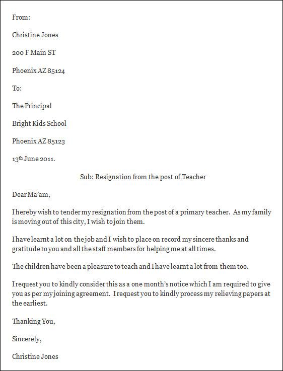 Resignation Letter Sample Teacher from www.sampletemplates.com