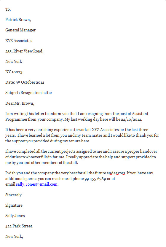 example of letters of resignation resignation letter writing a resignation letter its important resignation letters resigning letter example letter examples