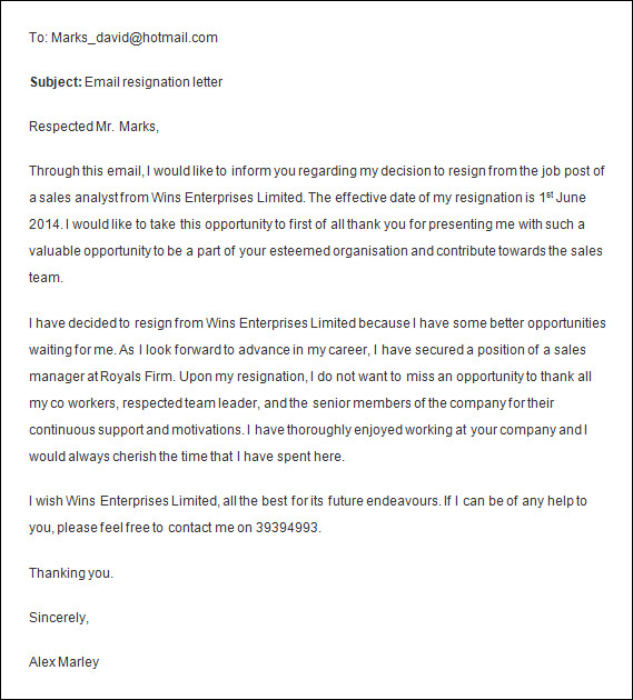 Superior Formal Sales Resignation Letter Email