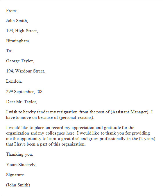 Formal Resignation Letter Template  Best Business Template