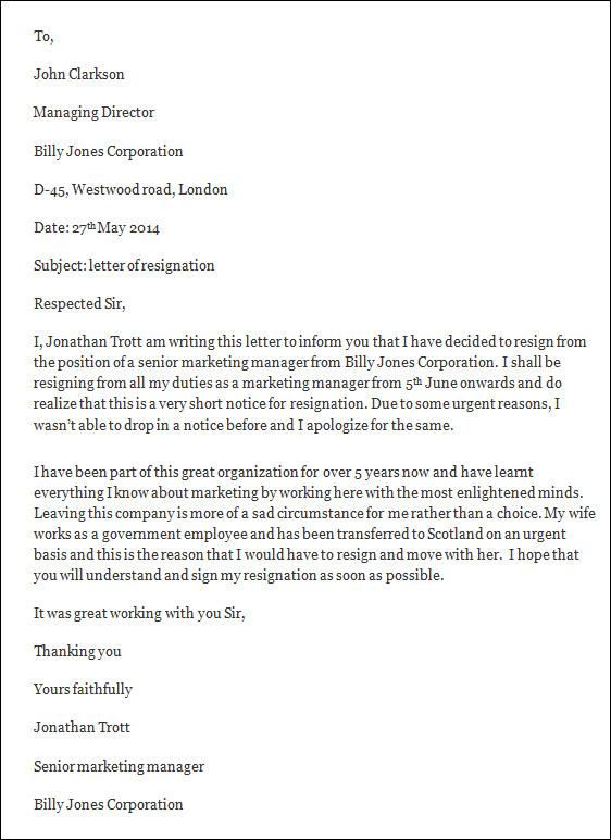 letter of resignation sample  letter of resignation templateletter of resignation format