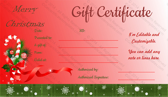 Doc670270 Christmas Gift Certificates Templates 17 Best – Christmas Gift Certificate Template