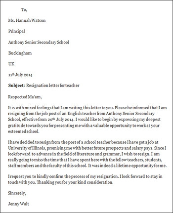 Teacher resignation letter template thecheapjerseys Image collections