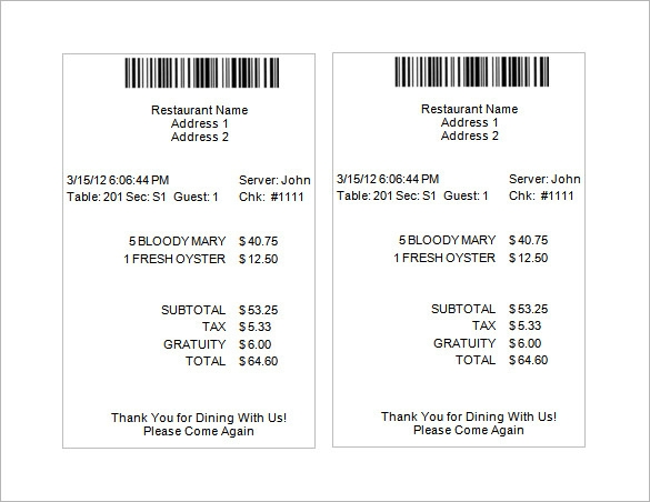 restaurant receipt template example