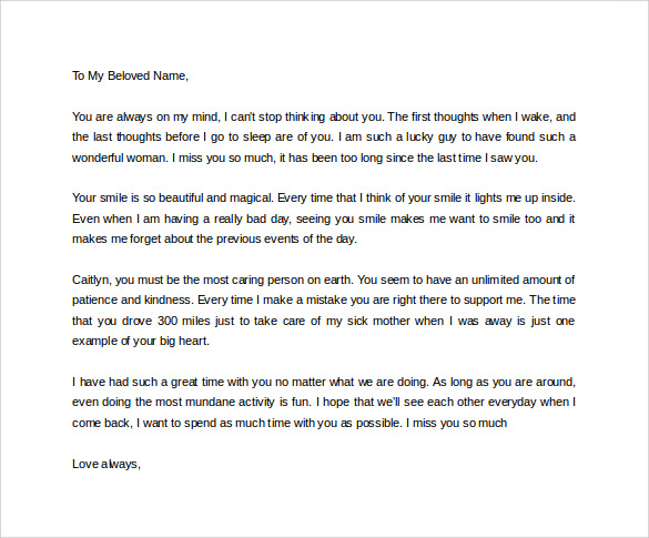 Sample Love Letter For Girlfriend 9 Free Documents In Word