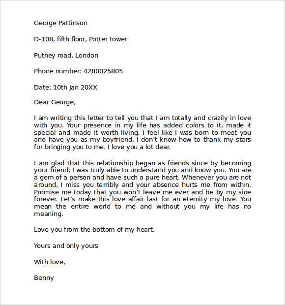 love letters for boyfriends
