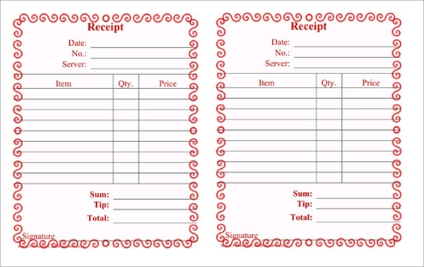 Restaurant Receipt Templates PDF Word Excel Sample Templates - Restaurant receipt template