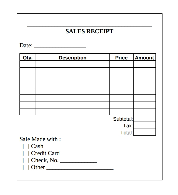 Sample Sales Receipt Template 9 Free Documents in Word PDF – Sales Receipt Template