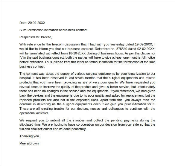 termination letter template free download .