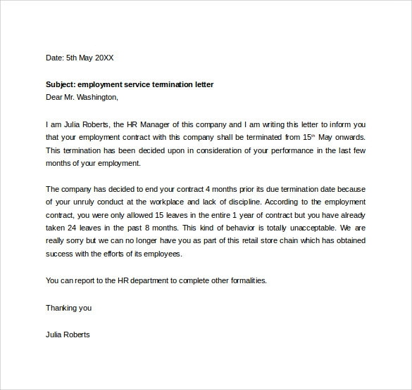 employment separation letter template – Separation of Employment Letter