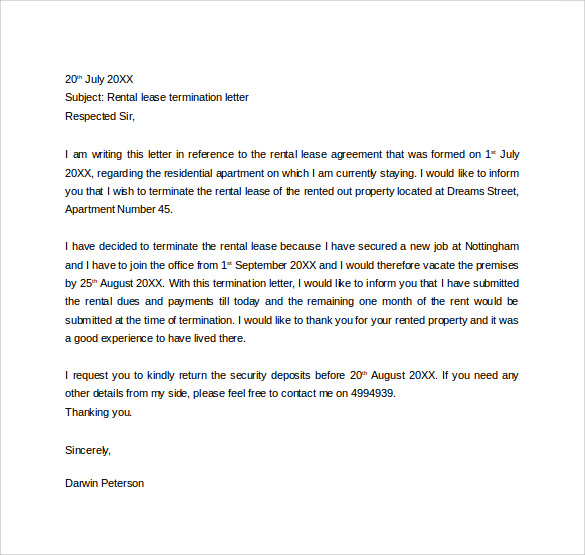 rental lease termination letter